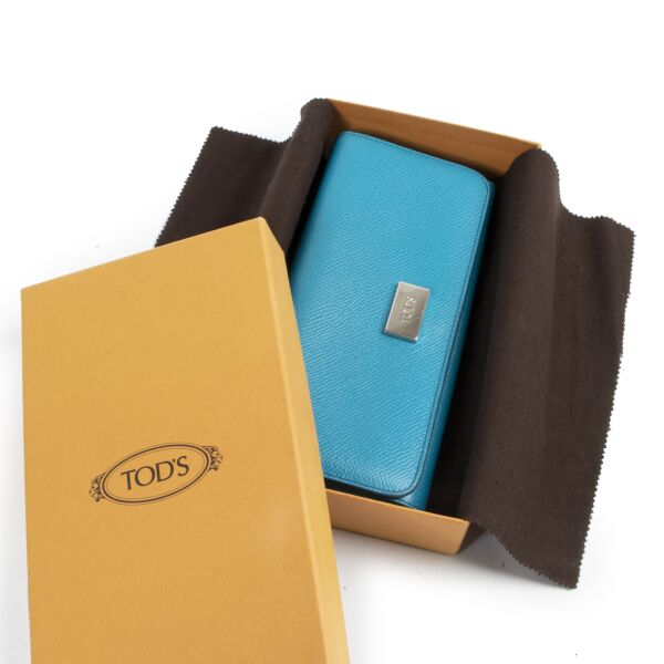 Tods Blue Leather Long Wallet