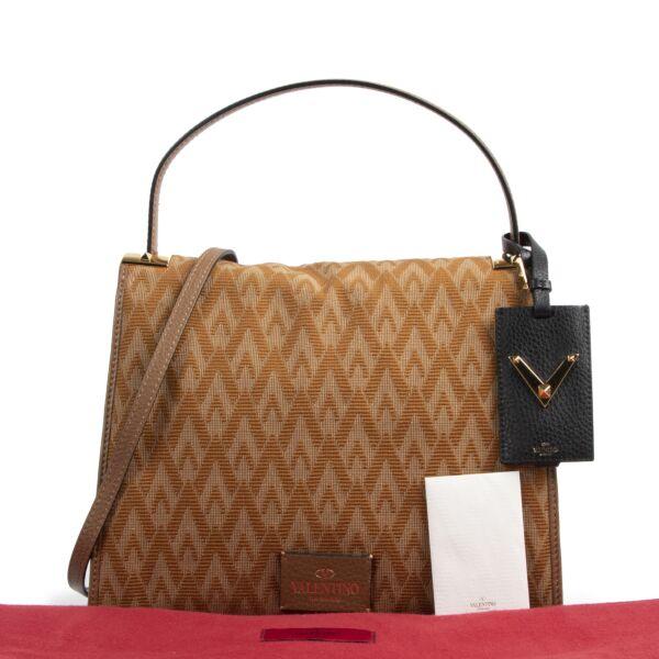 Valentino Garavani Camel Logo Shoulder Bag