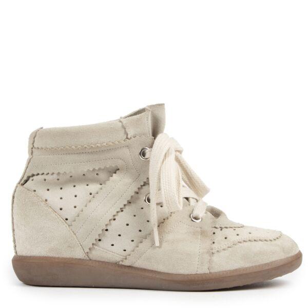 Authentieke Tweedehands Isabel Marant Beige Suede Bobby Wedge Sneakers - Size 39 juiste prijs veilig online shoppen luxe merken webshop winkelen Antwerpen België mode fashion
