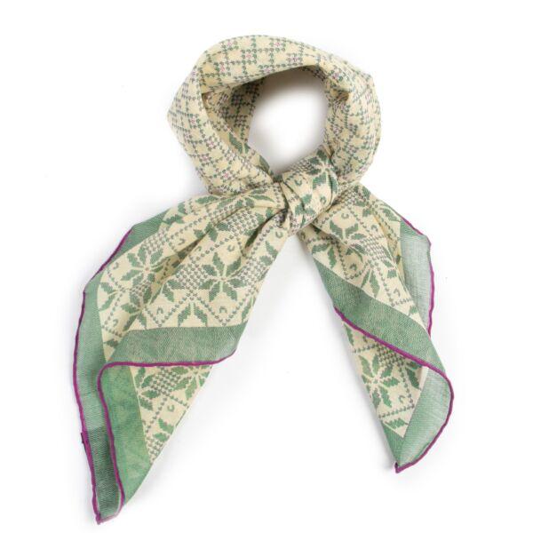 Authentieke Tweedehands Chanel Green Cotton Scarf juiste prijs veilig online shoppen luxe merken webshop winkelen Antwerpen België mode fashion