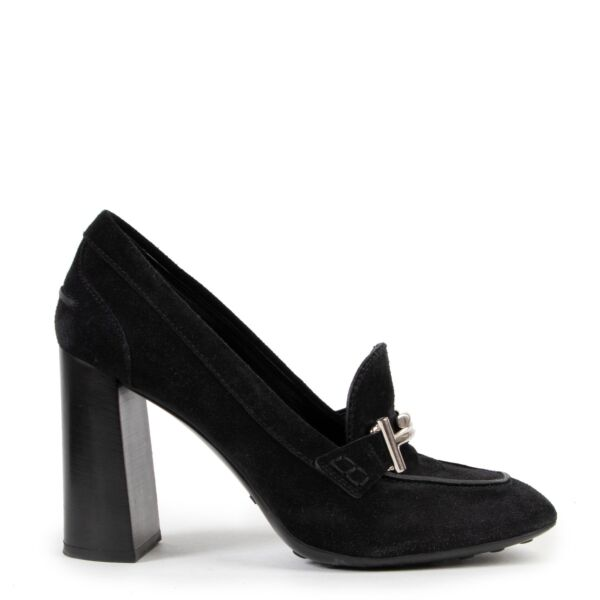 Double T Loafer Black Suede Tod Heels on Labellov vintage site in good quality