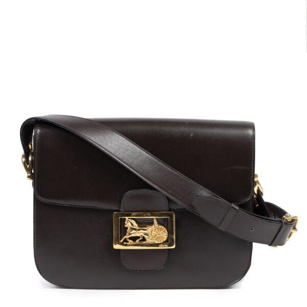 Authentic secondhand Celine Brown Carriage Shoulder Bag designer bags fashion luxury vintage webshop safe secure online shopping