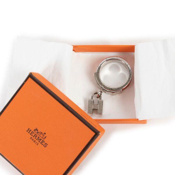 Hermès Kelly H Lizard Orange Silvertone Scarf Ring