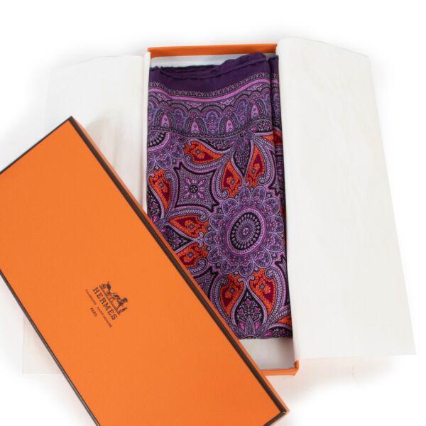 Hermès Purple Pochette Scarf Paisley