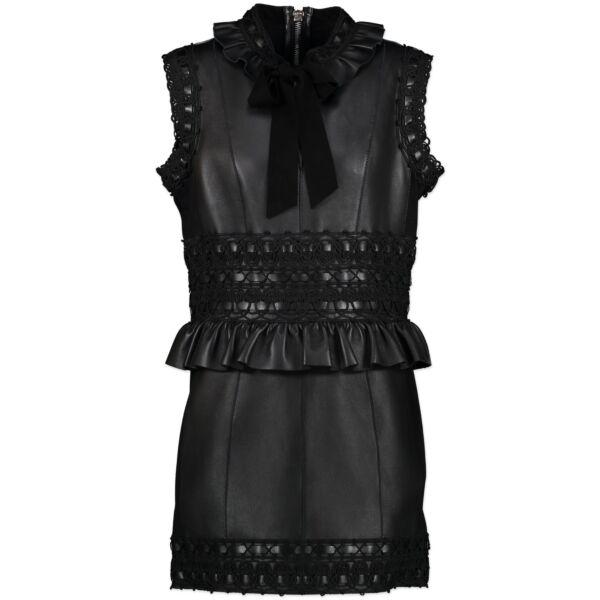 Dsuared2 Black Leather Mini Dress - It size 44 shop safe online