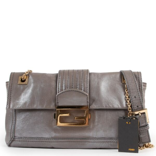 Fendi Grey Metallic Shoulder Bag Buy this 100% authentic piece here safely!