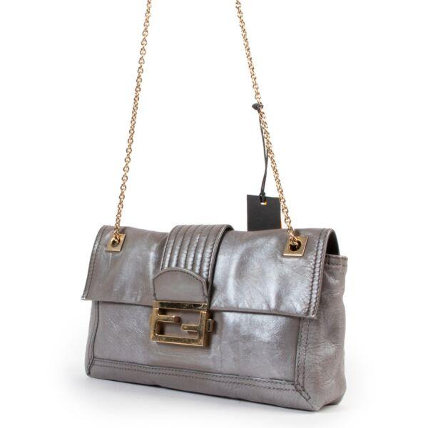 Fendi Grey Metallic Shoulder Bag