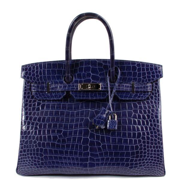 buy and sell safe online Hermès Birkin 35 Blue Electrique Crocodile Porosus PHW at labellov.com