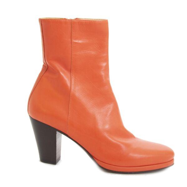 koop veilig online tegen de beste prijs Af Van De Vorst Orange Leather Boots - Size 36