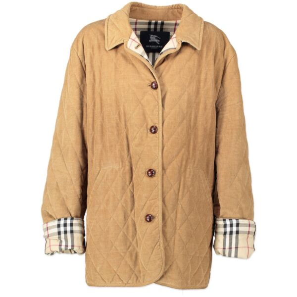 Burberry Corduroy Diamond Quilted Collar Jacket - Size 46