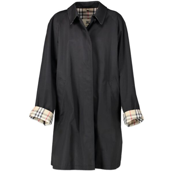 Burberry Black Trench Coat - Size uk 14
