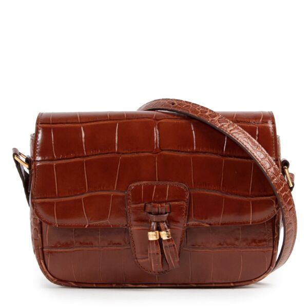 Céline Brown Croco Stamp Tassel Bag Medium acheter en ligne sac a main