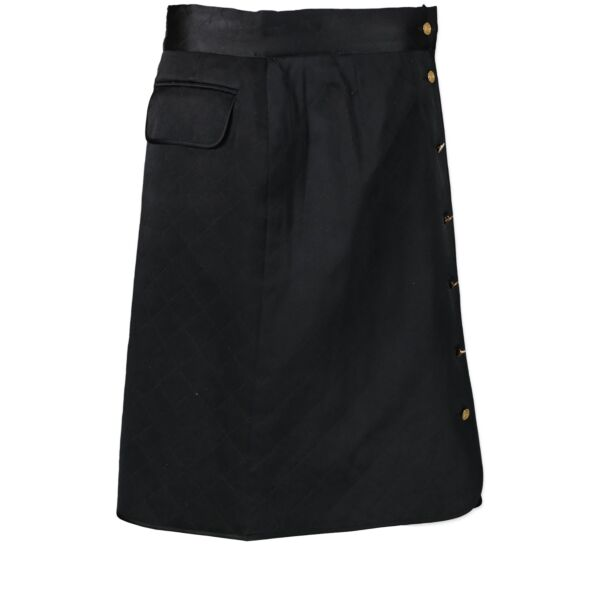 Buy authentic Chanel Black Quilted Satin Skirt at the right price online safe and secure online LabelLOV webshop Antwerp Belgium