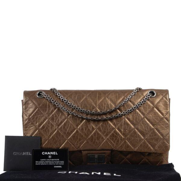 Chanel 2.55 Metallic Gold Jumbo Double Flap Bag