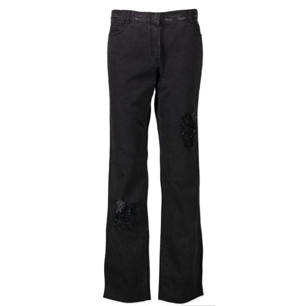 Chanel Dark Grey Tweed Patch Jeans - Size 40