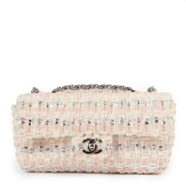 Chanel Silver White Tweed Mini Flap Bag