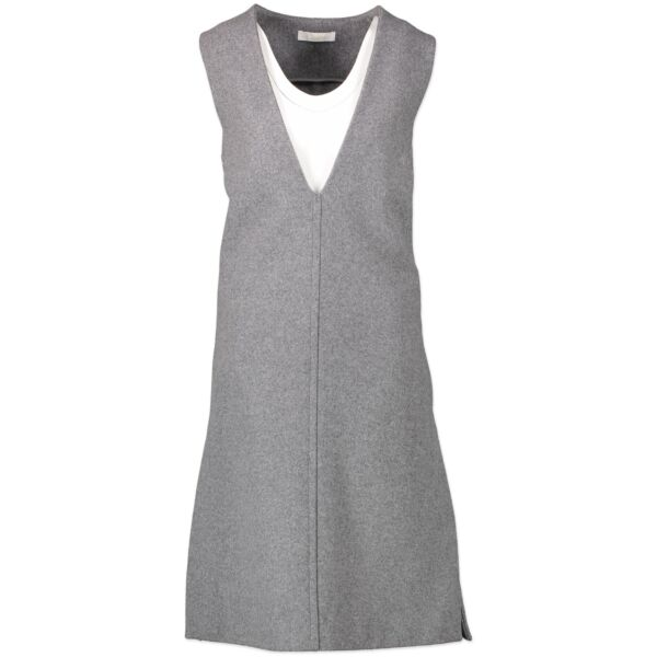 Are you looking for an authentic designer Chloé Grey V-neck Wool Felt Dress - size 34