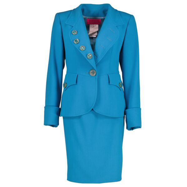 buy authentic vintage Christian Lacroix Vintage Turquoise Skirt Suit Set at Labellov for the best price