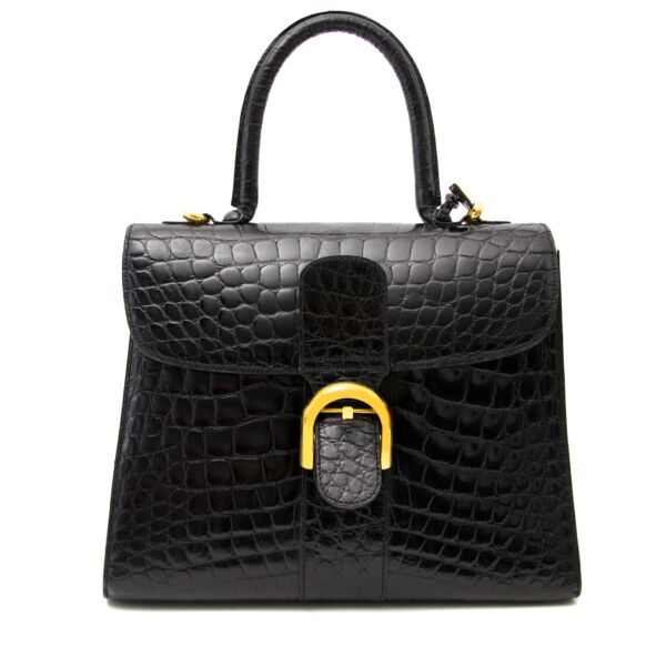 Shop luxury items in Antwerp like Delvaux Black Croco Brillant MM