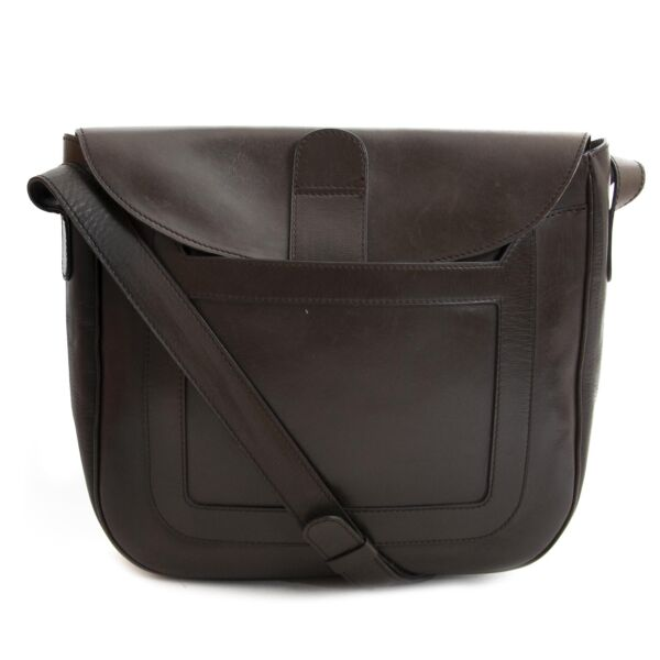 Delvaux Brown Shoulder Bag now for sale at labellov vintage fashion webshop belgium for the lowest price