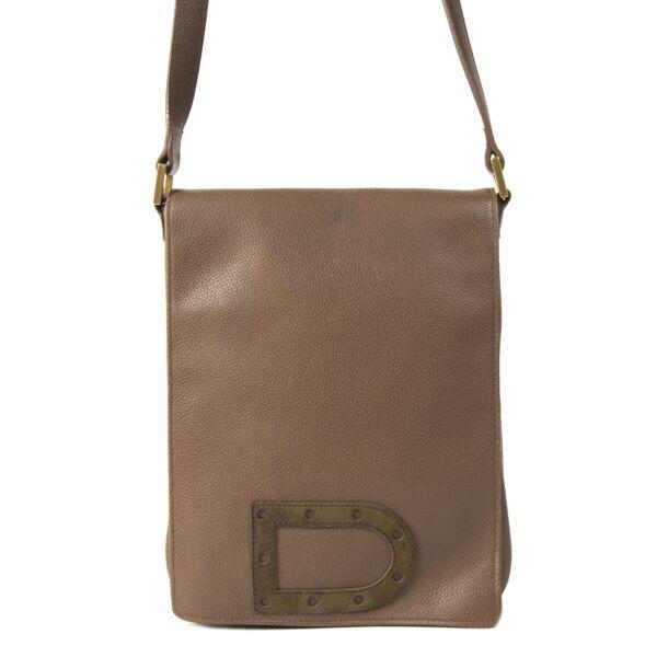 Authentieke Tweedehands Delvaux Le Louise Baudrier Taupe Bag juiste prijs veilig online shoppen luxe merken webshop winkelen Antwerpen België mode fashion