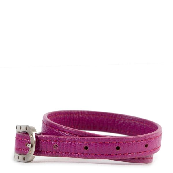 Delvaux Bright Purple Leather D Bracelet