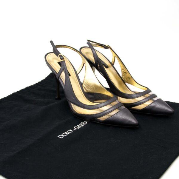 Dolce & Gabbana Grey Leather Slingback Heels - Size 38