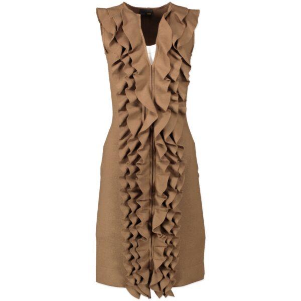 Fendi Tan Wool Ruffle Dress