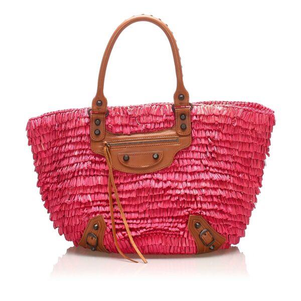 Balenciaga PinkPanier Raffia Basket Bag