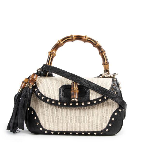 Authentieke Tweedehands Gucci Straw Studded Leather New Bamboo Top Handle Bag juiste prijs veilig online shoppen luxe merken webshop winkelen Antwerpen België mode fashion