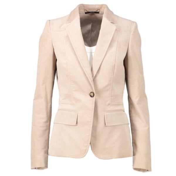 Gucci Beige Velvet Skirt Suit - Size 38