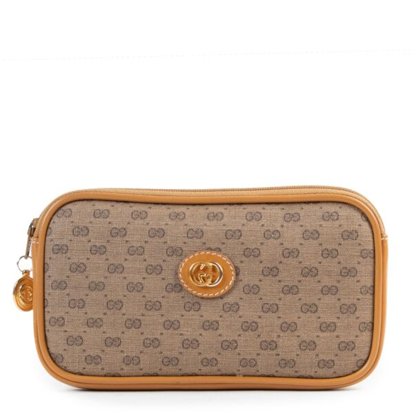 Shop safe online authentic second hand Gucci Brown Monogram Pouch.