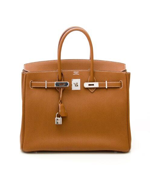 Authentieke tweedehands Hermès Gold cognac Birkin 35cm PHW Togo leather palladium hardware right price labellov vintage designer webshop safe secure fashion Antwerp Belgium