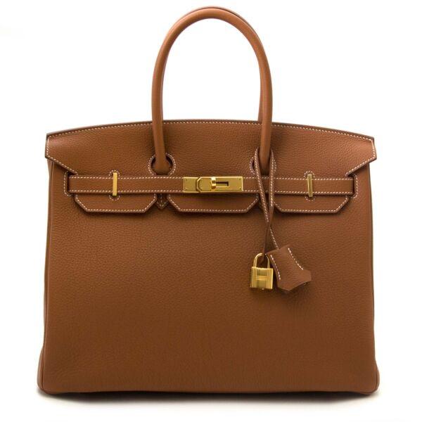 shop safe online secondhand *As New* Hermes Birkin 35 Togo Gold GHW