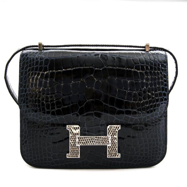 Hermès Constance 18 Mini Marquete Alligator Miss Lisse / Lezard Bleu Marine Ombre online exclusive