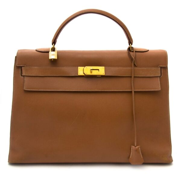 Hermes Kelly gold 40cm sellier cuir courchevel GHW now online at labellov.com for the best price