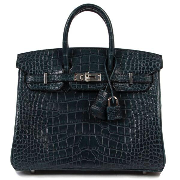 secondhand Hermès Birkin 25 Vert Rousseau Alligator Mississippi GHW