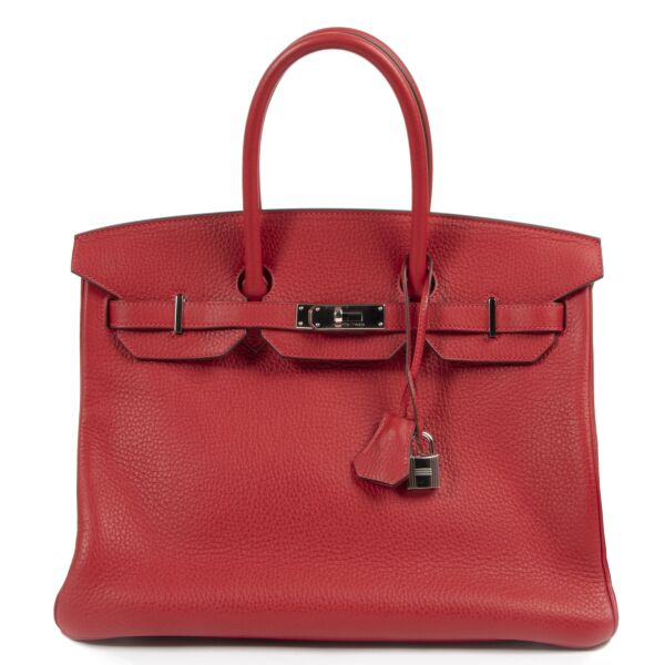Hermès Birkin 35 Rouge Casaque Taurillon Clemence PHW for the best price at Labellov