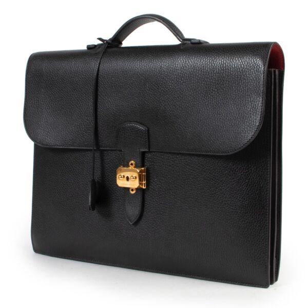 Hermes Black Veau Fjord Sac A Depeche 38 Briefcase