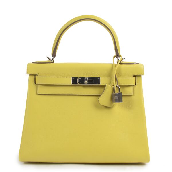 Hermès Kelly 28 Lime Evercolor PHW for the best price at Labellov