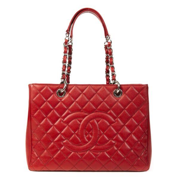 Authentieke Tweedehands Chanel Red Quilted Caviar Shopper juiste prijs veilig online shoppen luxe merken webshop winkelen Antwerpen België mode fashion