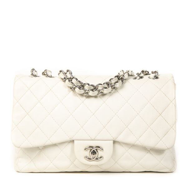 Authentieke Tweedehands Chanel White Caviar Leather Jumbo Classic Flap Bag juiste prijs veilig online shoppen luxe merken webshop winkelen Antwerpen België mode fashion