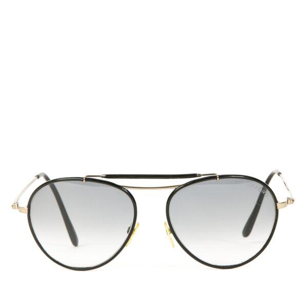 Authentieke Tweedehands Tom Ford Black Aviator Sunglasses juiste prijs online shoppen luxe merken webshop winkelen Antwerpen België mode fashion