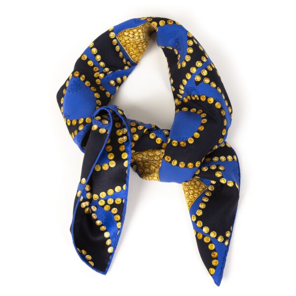 Cartier Blue Gold Letters Scarf