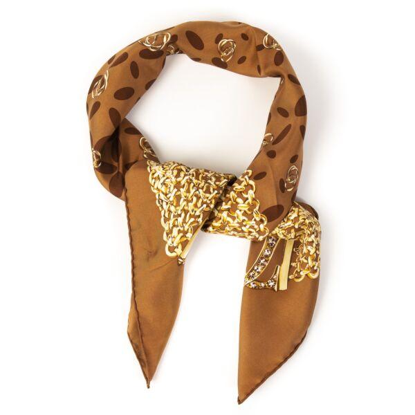 Cartier Silk Cognac Chain Pattern Scarf