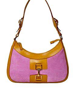 Vintage Gucci Violet suede & cognac leather handbag