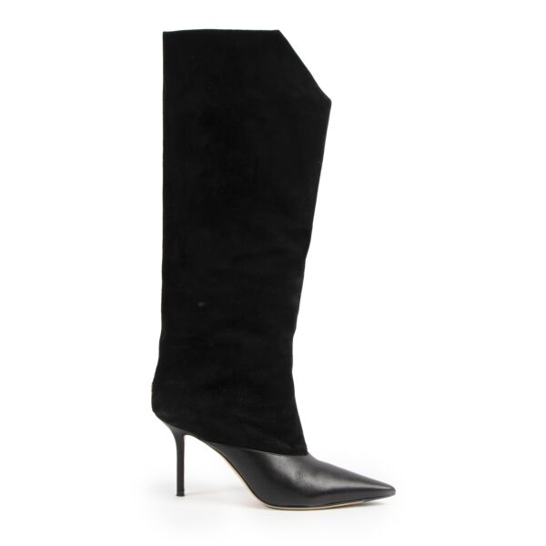 Jimmy Choo Black Brelan 85 Suède Knee High Boots for the best price at labellov