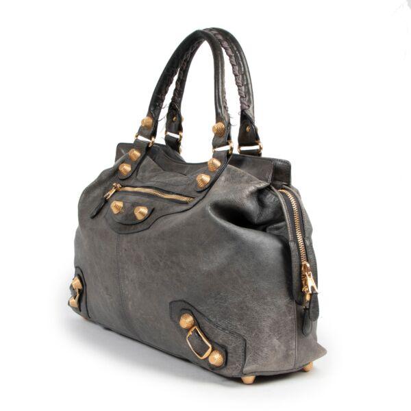 Balenciaga Grey Leather Giant Vélo XL Bag