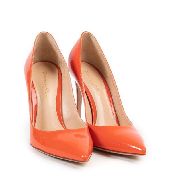 Gianvito Rossi Orange Patent Leather Pumps - Size 37,5