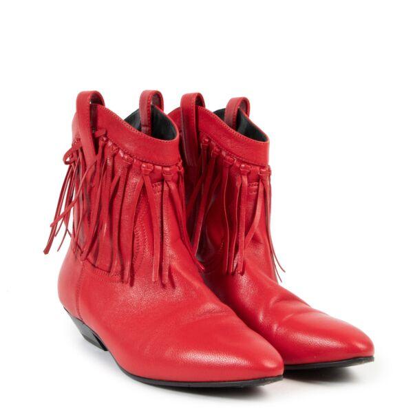 Saint Laurent Red Fringe Ankle Boots - size 37.5